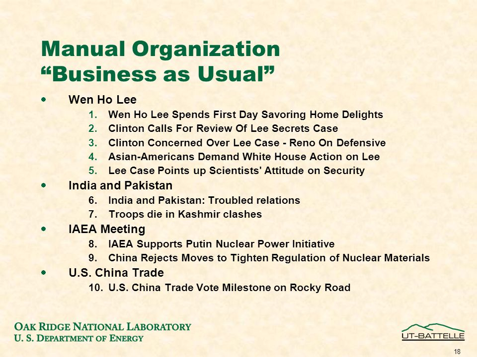 18 Manual Organization Business as Usual  Wen Ho Lee 1.Wen Ho Lee Spends First Day Savoring Home Delights 2.Clinton Calls For Review Of Lee Secrets Case 3.Clinton Concerned Over Lee Case - Reno On Defensive 4.Asian-Americans Demand White House Action on Lee 5.Lee Case Points up Scientists Attitude on Security  India and Pakistan 6.India and Pakistan: Troubled relations 7.Troops die in Kashmir clashes  IAEA Meeting 8.IAEA Supports Putin Nuclear Power Initiative 9.China Rejects Moves to Tighten Regulation of Nuclear Materials  U.S.