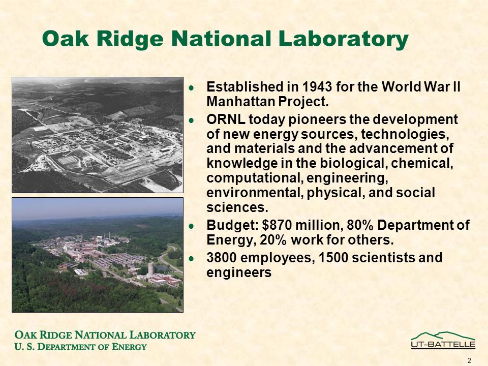 2 Oak Ridge National Laboratory  Established in 1943 for the World War II Manhattan Project.
