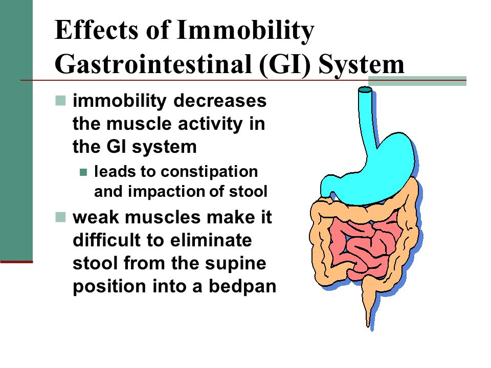 Effects of Immobility Gastrointestinal (GI) System immobility decreases the muscle activity in the GI system leads to constipation and impaction of stool weak muscles make it difficult to eliminate stool from the supine position into a bedpan