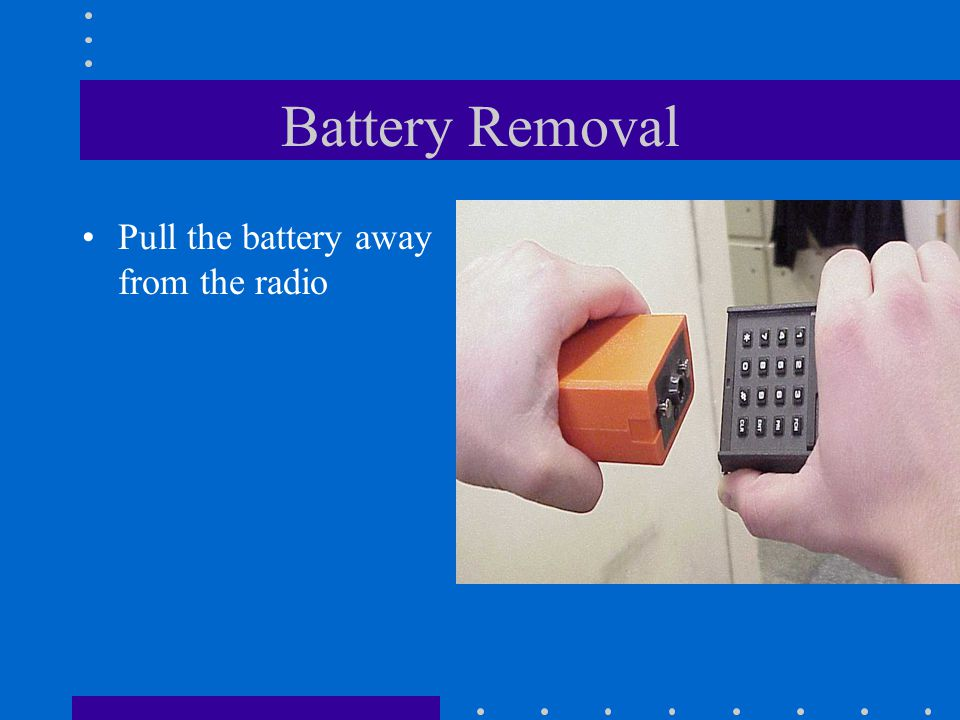 Battery Removal With your left hand, rotate the battery counter clockwise 1/8 turn
