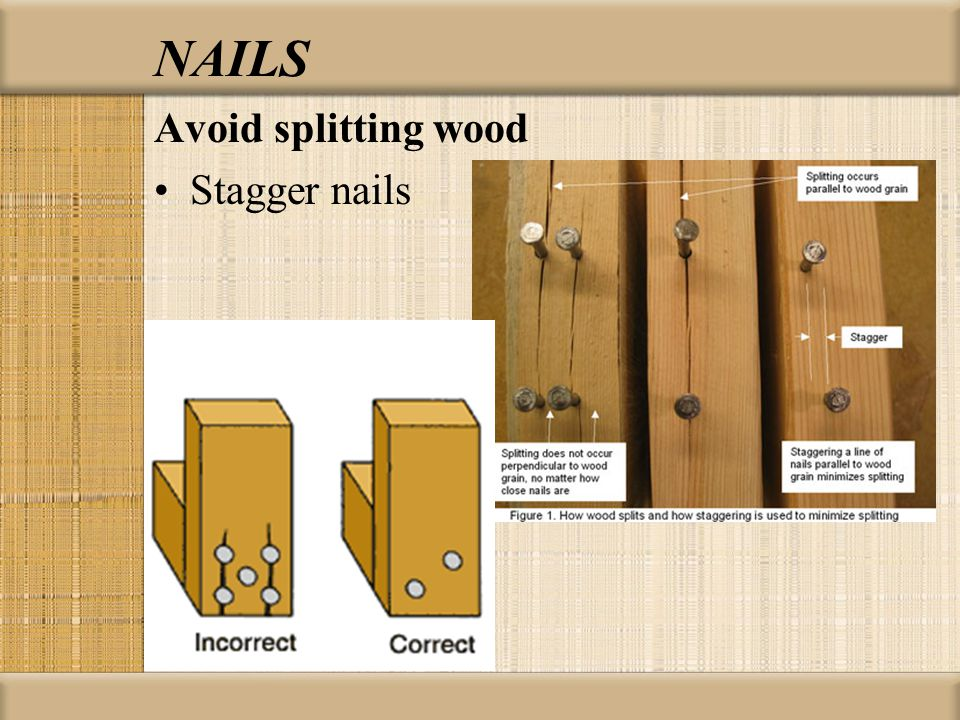 NAILS Avoid splitting wood Stagger nails