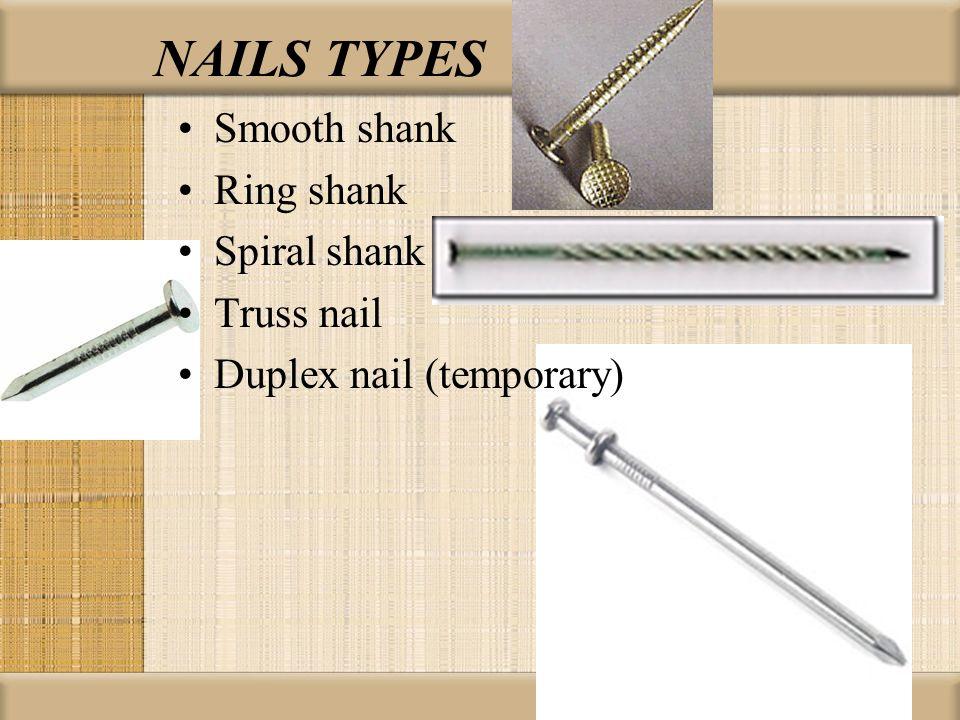NAILS TYPES Smooth shank Ring shank Spiral shank Truss nail Duplex nail (temporary)