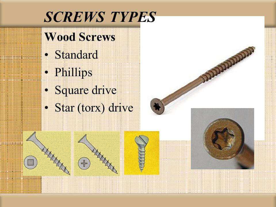 SCREWS TYPES Wood Screws Standard Phillips Square drive Star (torx) drive