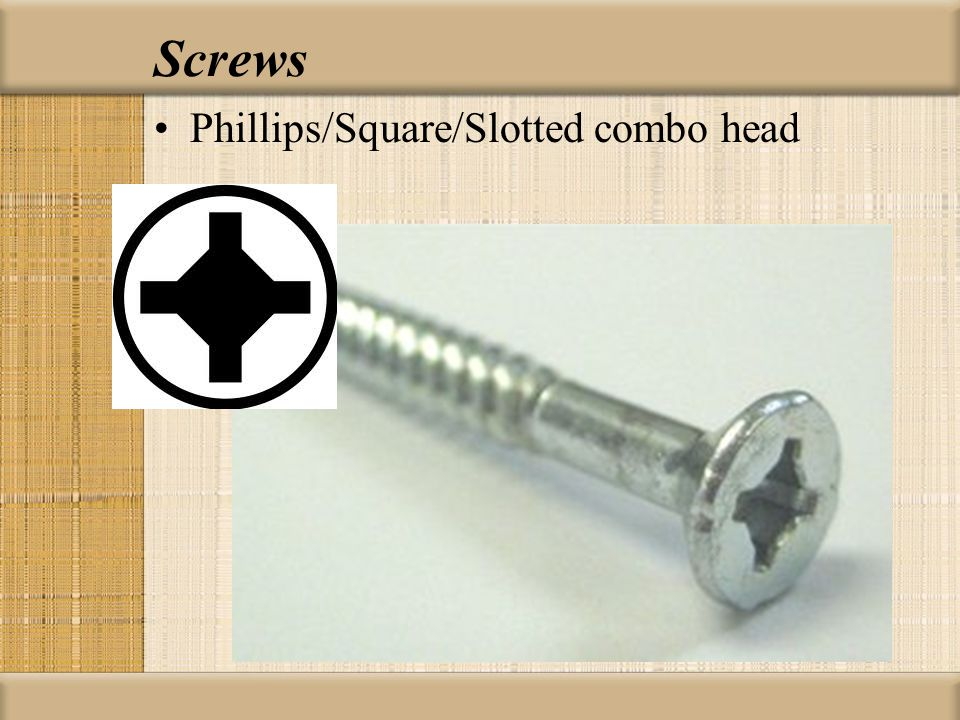 Screws Phillips/Square/Slotted combo head