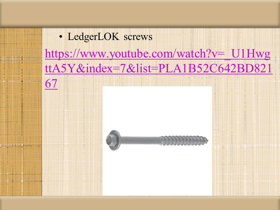 LedgerLOK screws https://www.youtube.com/watch v=_U1Hwg ttA5Y&index=7&list=PLA1B52C642BD821 67