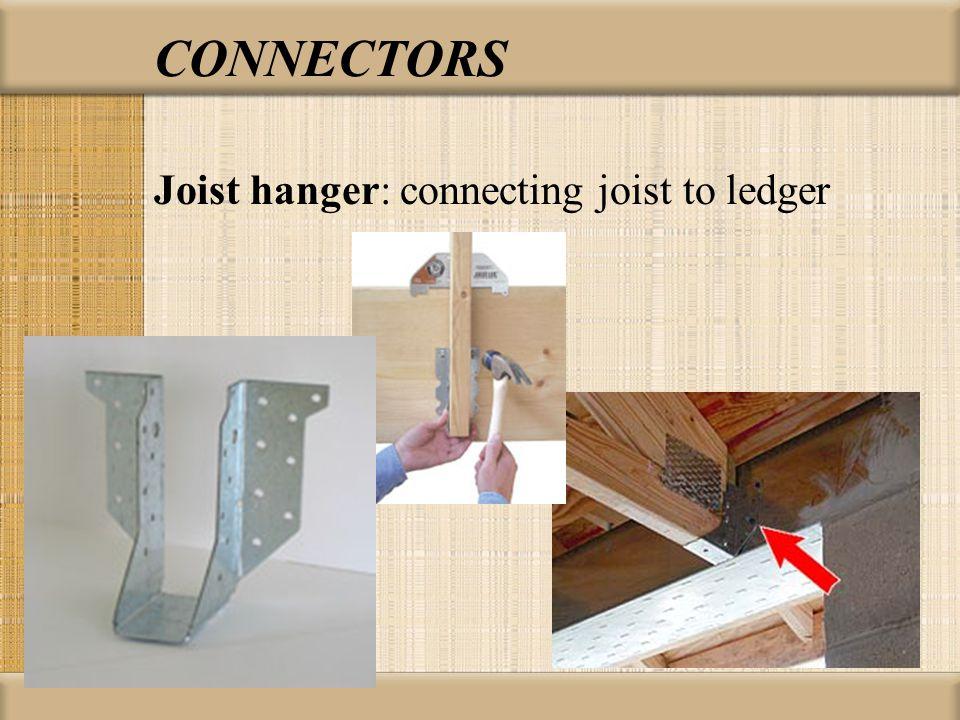 CONNECTORS Joist hanger: connecting joist to ledger