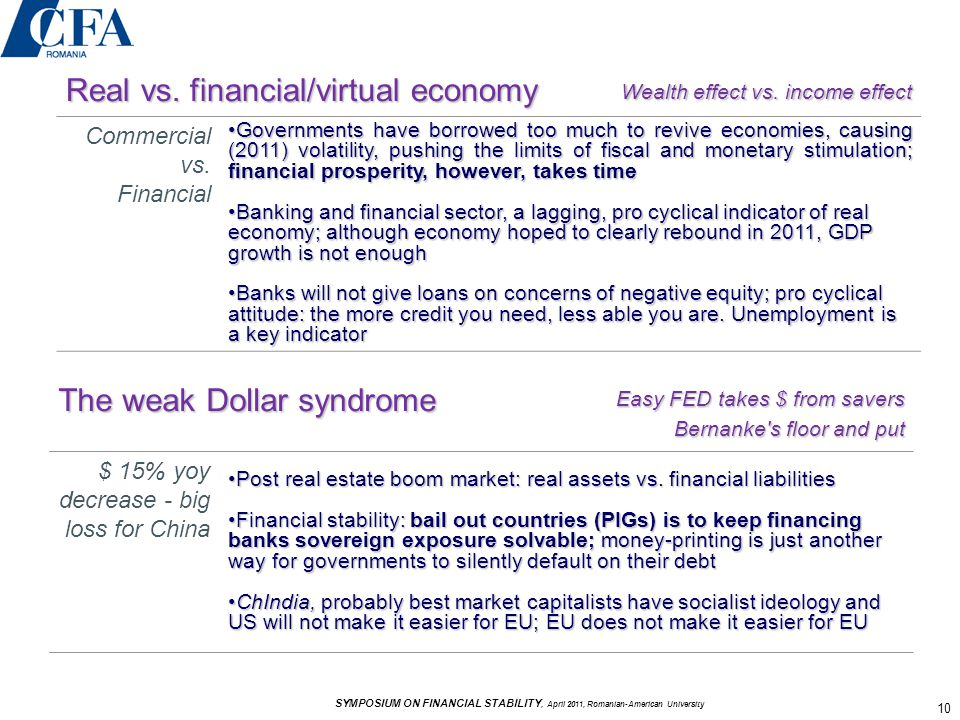 Real vs. financial/virtual economy Wealth effect vs.
