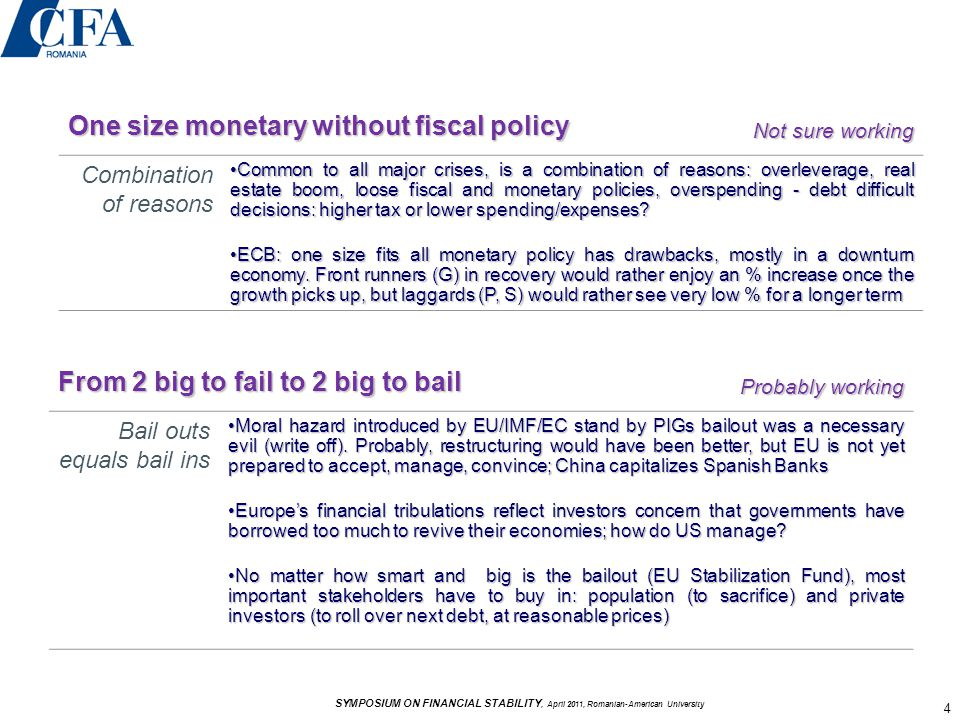 One size monetary without fiscal policy Not sure working Combination of reasons Common to all major crises, is a combination of reasons: overleverage, real estate boom, loose fiscal and monetary policies, overspending - debt difficult decisions: higher tax or lower spending/expenses?Common to all major crises, is a combination of reasons: overleverage, real estate boom, loose fiscal and monetary policies, overspending - debt difficult decisions: higher tax or lower spending/expenses.
