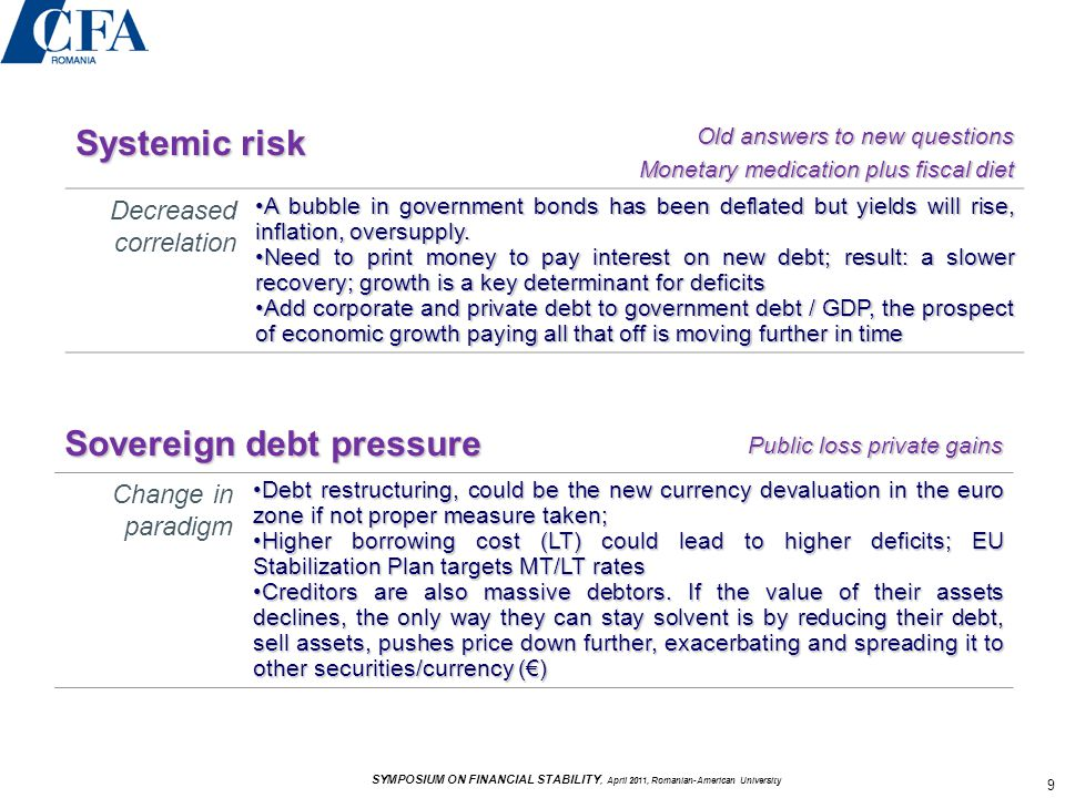 Systemic risk Old answers to new questions Monetary medication plus fiscal diet Monetary medication plus fiscal diet Decreased correlation A bubble in government bonds has been deflated but yields will rise, inflation, oversupply.A bubble in government bonds has been deflated but yields will rise, inflation, oversupply.