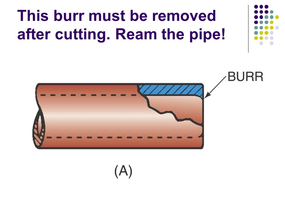 This burr must be removed after cutting. Ream the pipe!