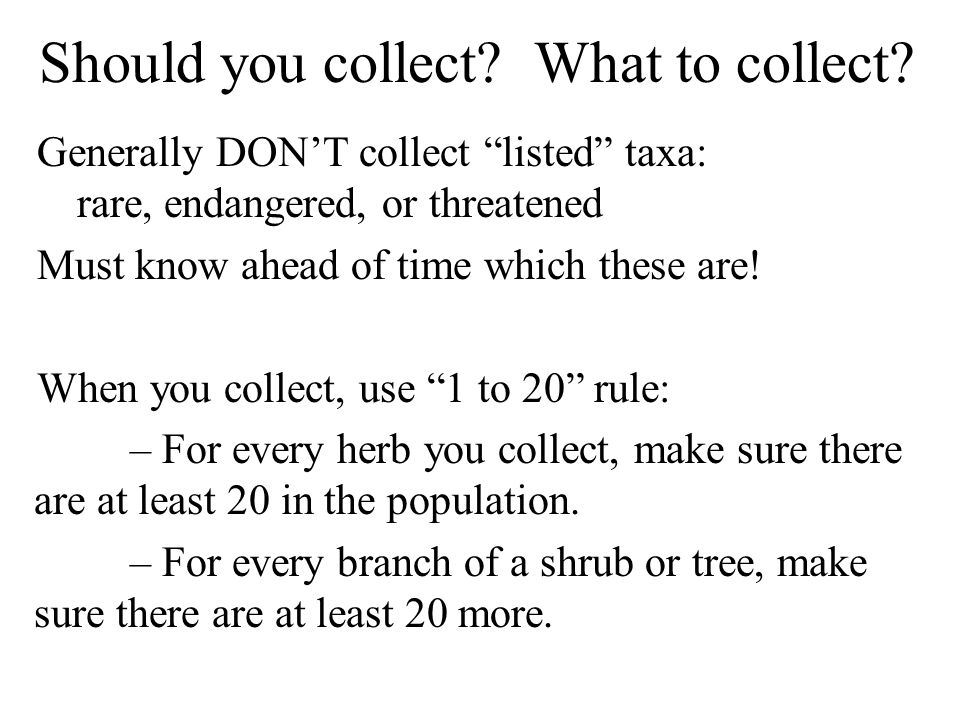 "Should you collect? What to collect? Generally DON'T collect ""listed"" taxa: rare, endangered, or threatened Must know ahead of time which these are! W"