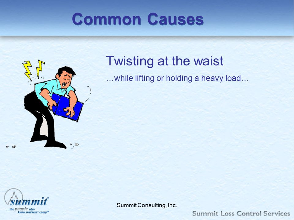 Click to edit Master text styles –Second level Third level –Fourth level »Fifth level Summit Consulting, Inc. Common Causes Twisting at the waist …whi