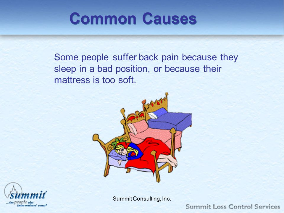 Click to edit Master text styles –Second level Third level –Fourth level »Fifth level Summit Consulting, Inc. Common Causes Some people suffer back pa
