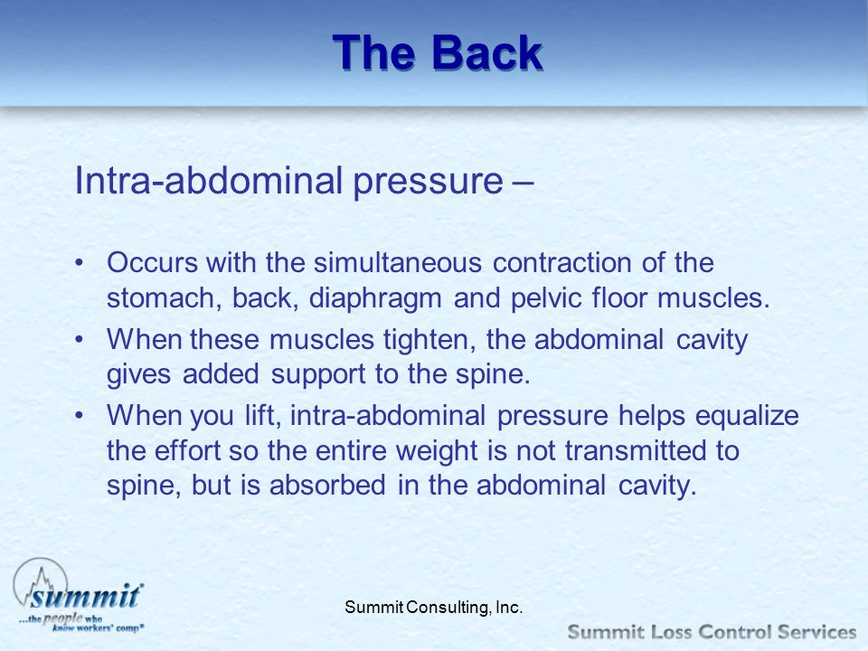 Click to edit Master text styles –Second level Third level –Fourth level »Fifth level Summit Consulting, Inc. The Back Intra-abdominal pressure – Occu
