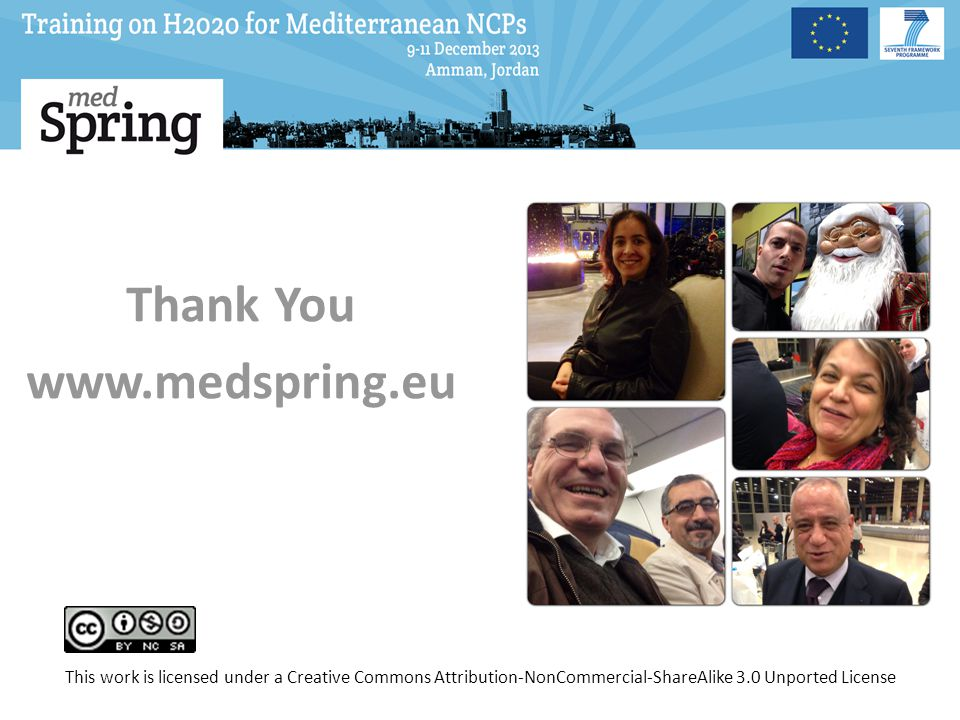 Thank You www.medspring.eu This work is licensed under a Creative Commons Attribution-NonCommercial-ShareAlike 3.0 Unported License