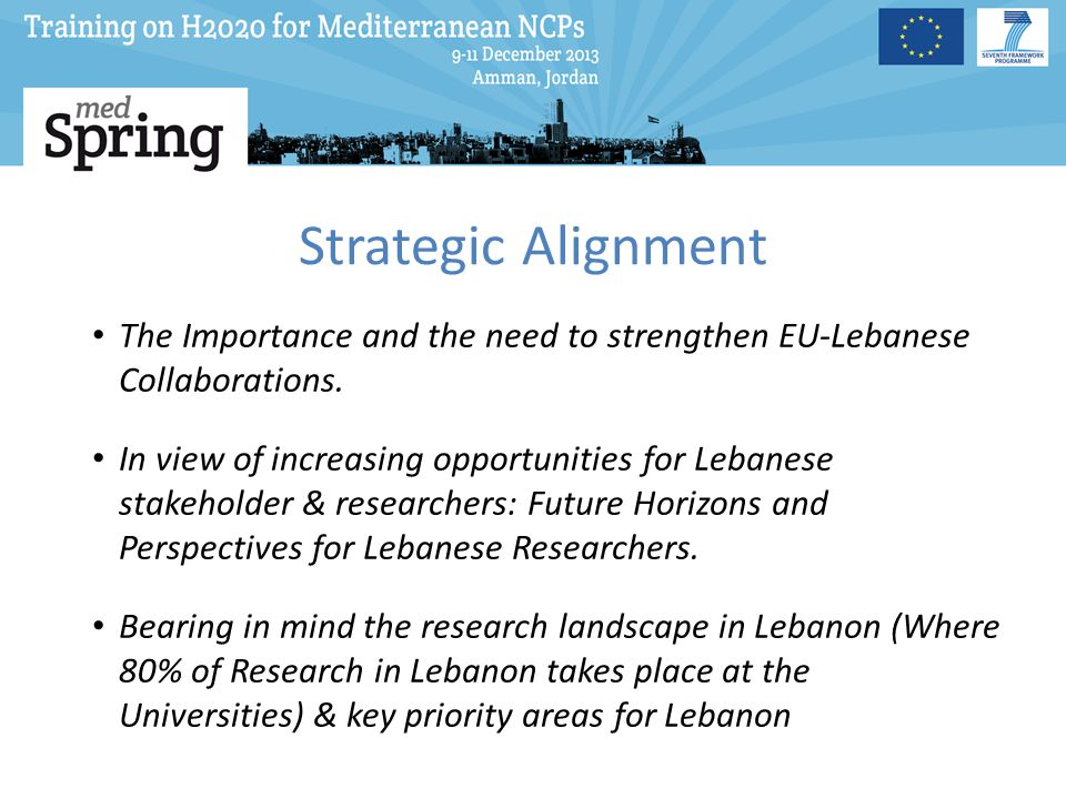 Strategic Alignment The Importance and the need to strengthen EU-Lebanese Collaborations.