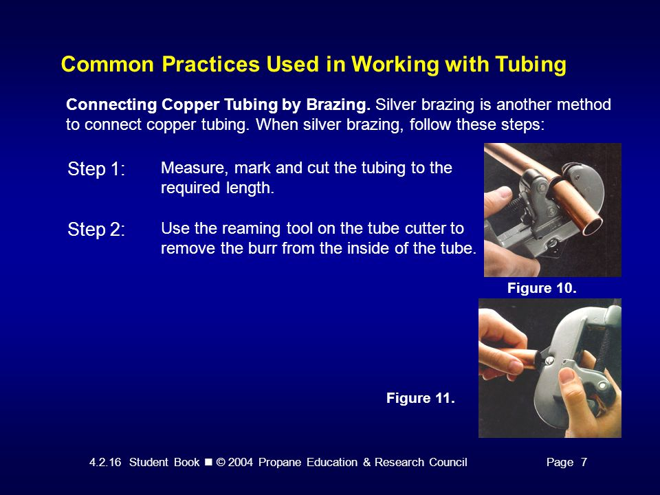 4.2.16 Student Book © 2004 Propane Education & Research CouncilPage 7 Common Practices Used in Working with Tubing Figure 10.