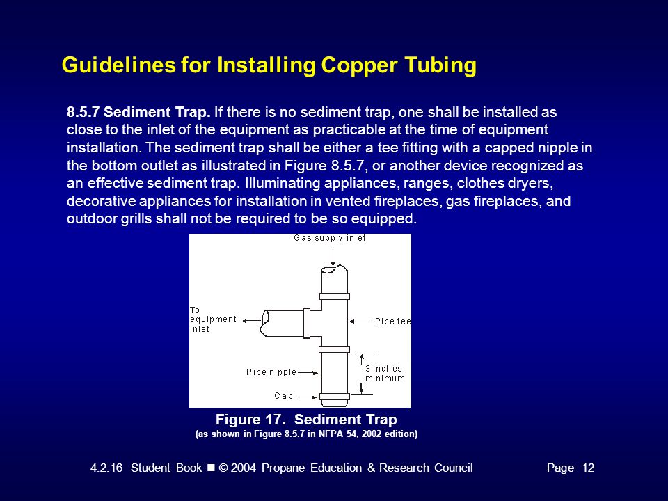 4.2.16 Student Book © 2004 Propane Education & Research CouncilPage 12 Guidelines for Installing Copper Tubing Figure 17.