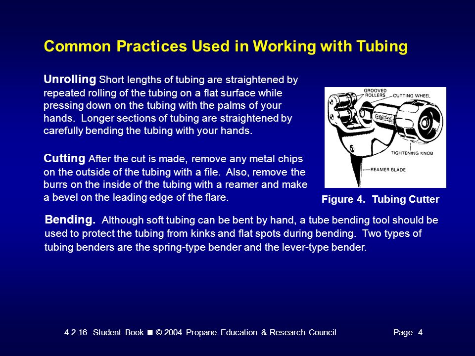 4.2.16 Student Book © 2004 Propane Education & Research CouncilPage 4 Common Practices Used in Working with Tubing Figure 4.