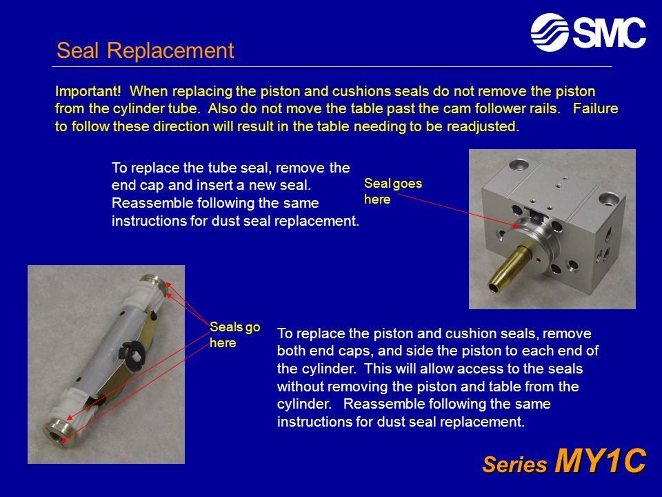 Series MY1C Seal Replacement Important! When replacing the piston and cushions seals do not remove the piston from the cylinder tube. Also do not move