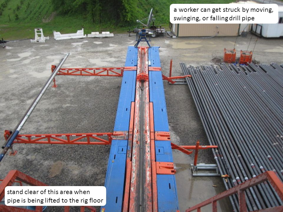 8 a worker can get struck by moving, swinging, or falling drill pipe stand clear of this area when pipe is being lifted to the rig floor