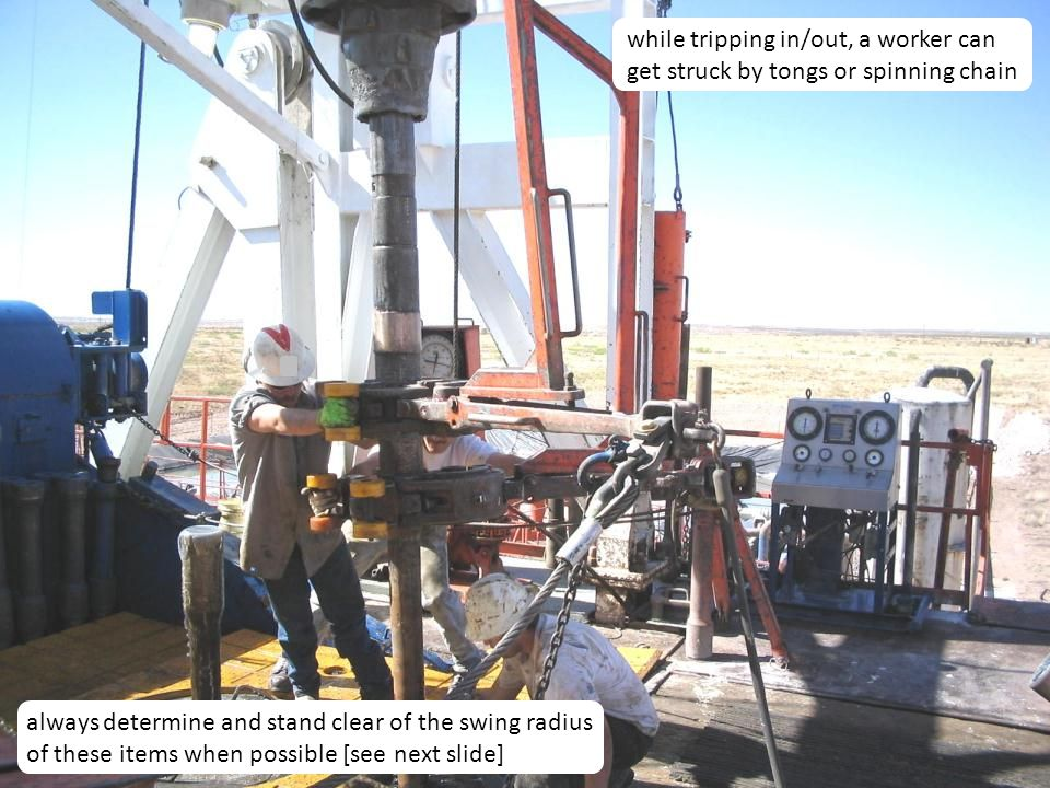 20 Caught-Between Hazards Moving pipe and casing Using tongs and spinning chain Working around mobile equipment Unguarded moving parts Working under suspended loads Improper use of hand tools Wearing loose clothing Improper handling of slips or elevators