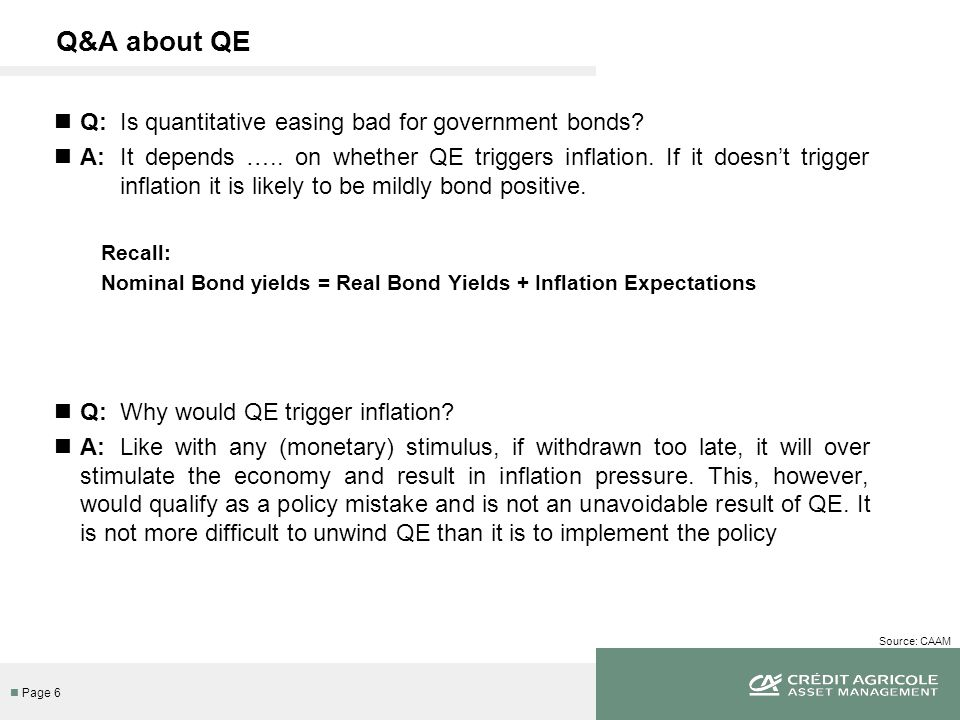 n Page 7 Source: CAAM Q&A about QE Q: Are we close to over-stimulating the economy.