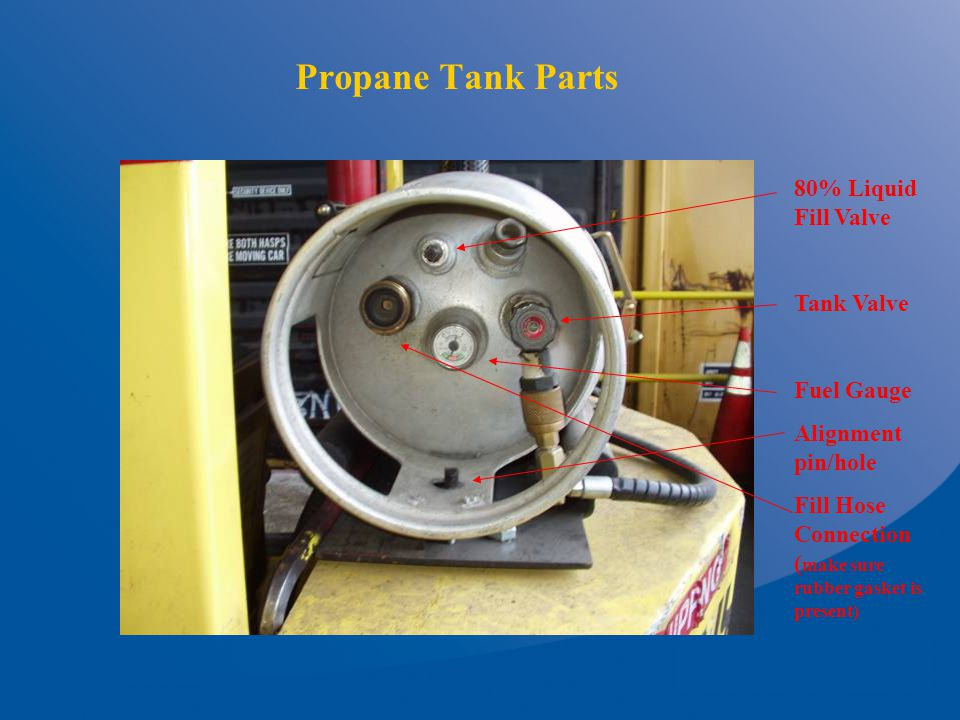 Propane Tank Parts 80% Liquid Fill Valve Tank Valve Fuel Gauge Alignment pin/hole Fill Hose Connection ( make sure rubber gasket is present)