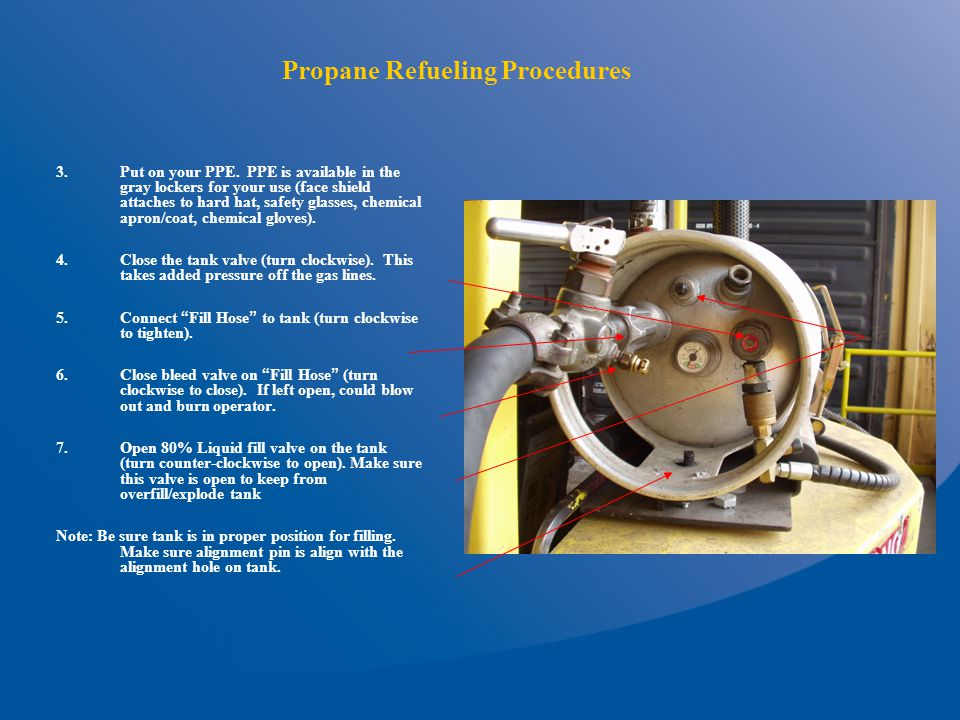 Propane Refueling Procedures 3.Put on your PPE.