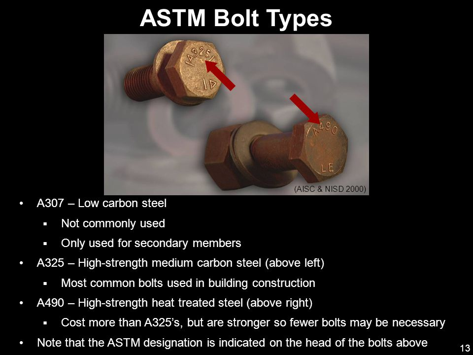 13 ASTM Bolt Types (AISC & NISD 2000) A307 – Low carbon steel  Not commonly used  Only used for secondary members A325 – High-strength medium carbon