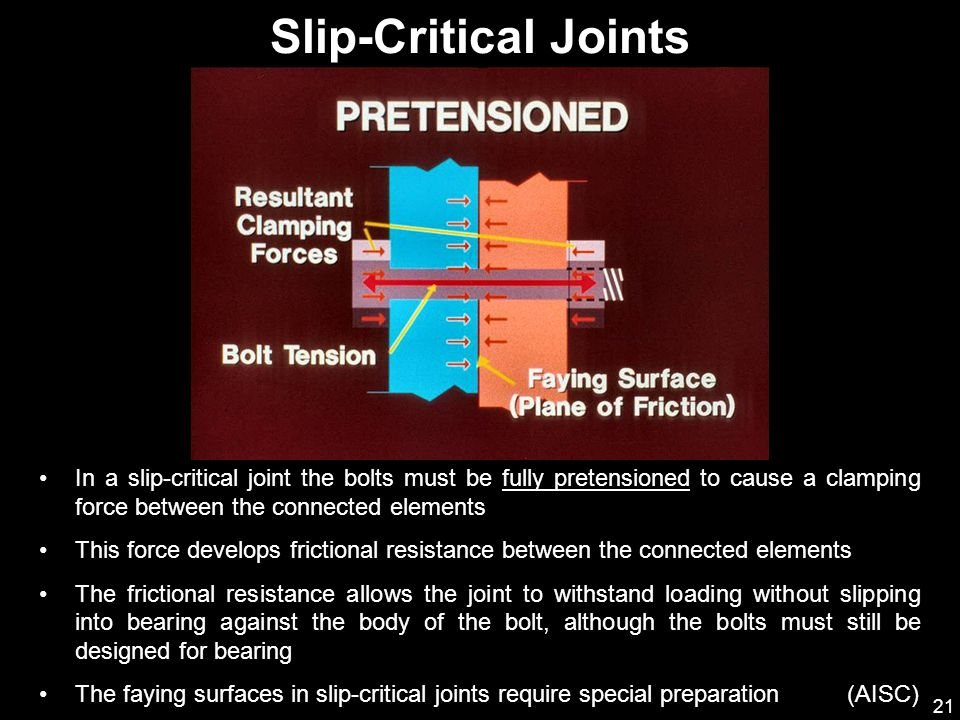 21 In a slip-critical joint the bolts must be fully pretensioned to cause a clamping force between the connected elements This force develops friction