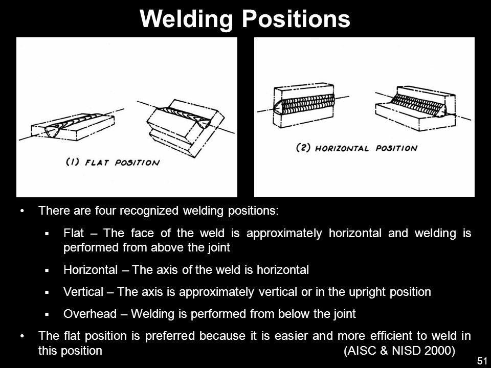 51 There are four recognized welding positions:  Flat – The face of the weld is approximately horizontal and welding is performed from above the join