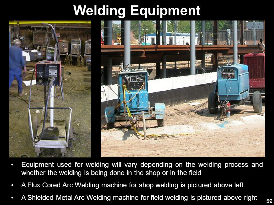 59 Equipment used for welding will vary depending on the welding process and whether the welding is being done in the shop or in the field A Flux Core