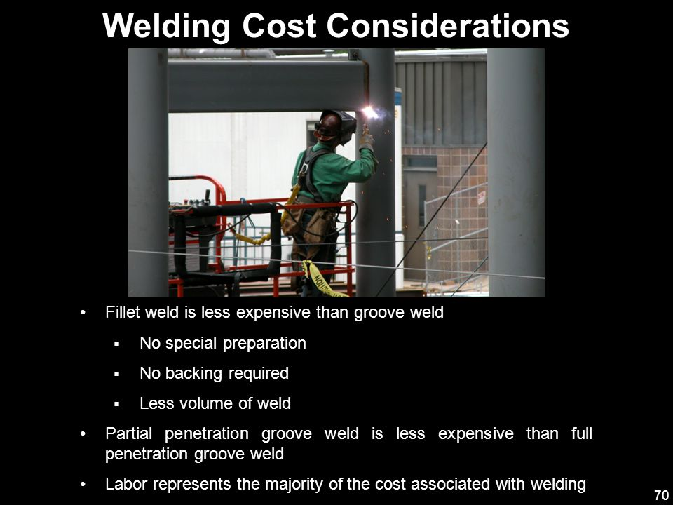 70 Fillet weld is less expensive than groove weld  No special preparation  No backing required  Less volume of weld Partial penetration groove weld