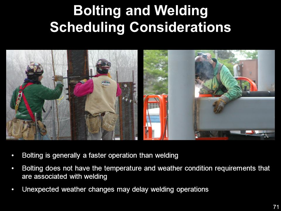71 Bolting is generally a faster operation than welding Bolting does not have the temperature and weather condition requirements that are associated w