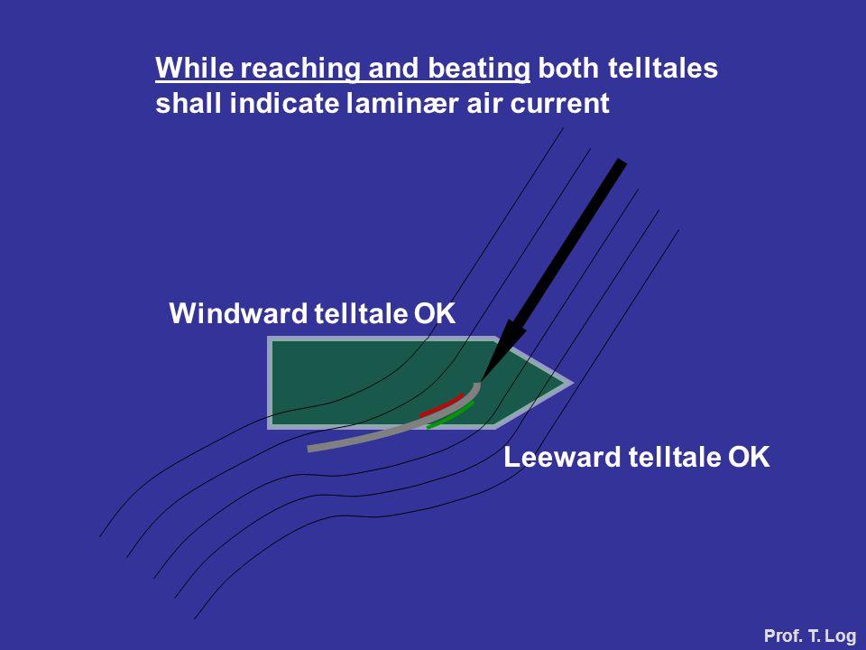 Windward telltale OK Leeward telltale OK While reaching and beating both telltales shall indicate laminær air current Prof.