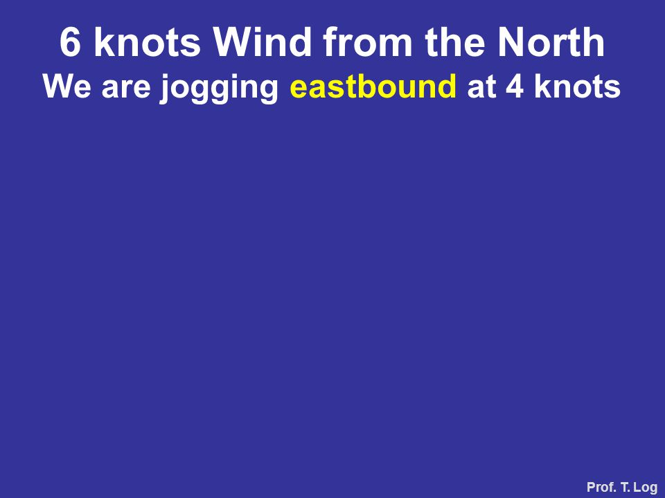 Prof. T. Log 6 knots Wind fra the Nord We are jogging westbound 4 knots