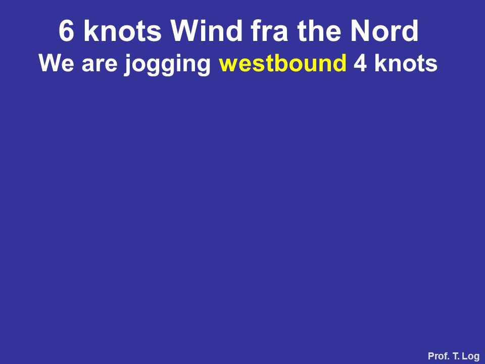 Prof. T. Log 6 knots Wind from the North We sail eastbound, speed 4 knots