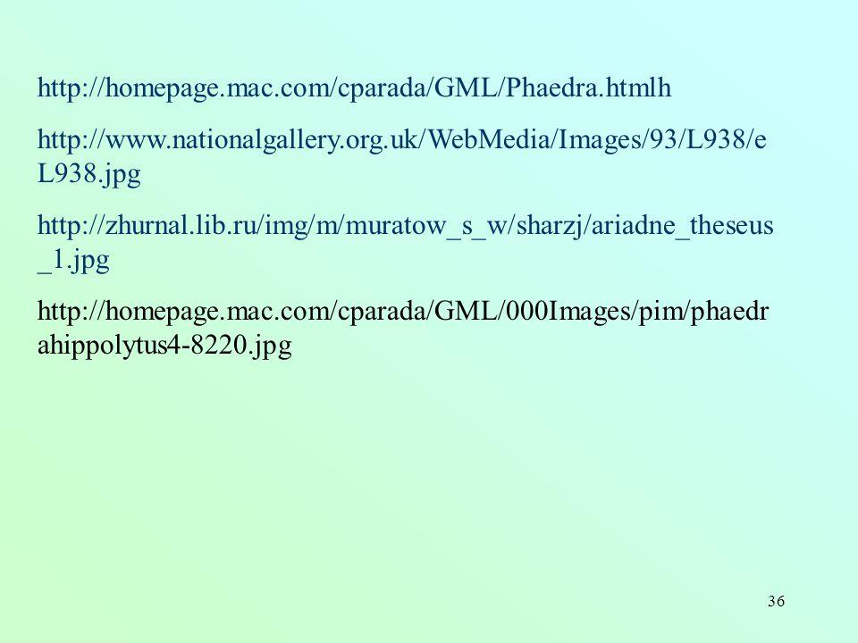 36 http://homepage.mac.com/cparada/GML/Phaedra.htmlh http://www.nationalgallery.org.uk/WebMedia/Images/93/L938/e L938.jpg http://zhurnal.lib.ru/img/m/muratow_s_w/sharzj/ariadne_theseus _1.jpg http://homepage.mac.com/cparada/GML/000Images/pim/phaedr ahippolytus4-8220.jpg