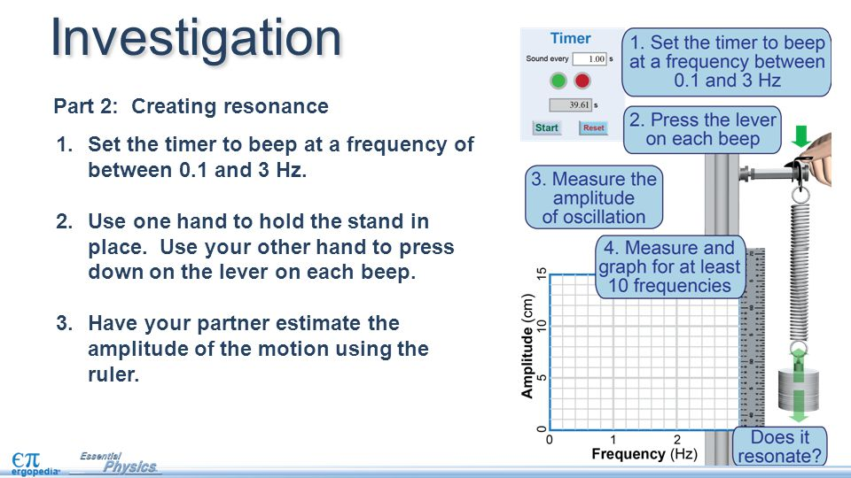 Investigation Part 2: Creating resonance 1.Set the timer to beep at a frequency of between 0.1 and 3 Hz.