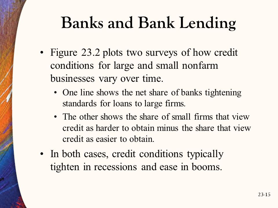 23-15 Banks and Bank Lending Figure 23.2 plots two surveys of how credit conditions for large and small nonfarm businesses vary over time.