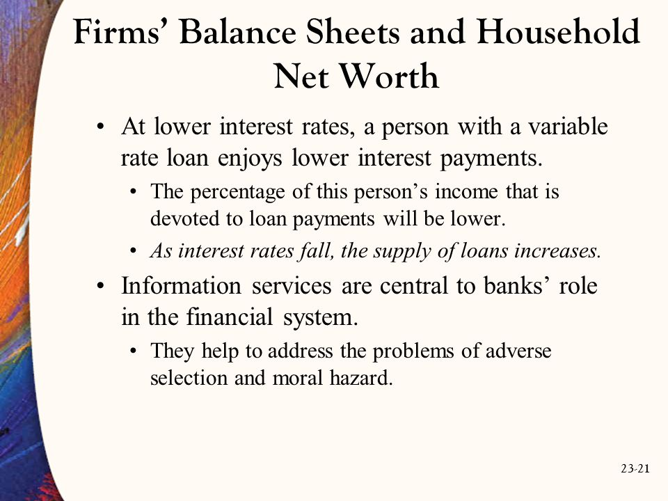 23-21 Firms' Balance Sheets and Household Net Worth At lower interest rates, a person with a variable rate loan enjoys lower interest payments.