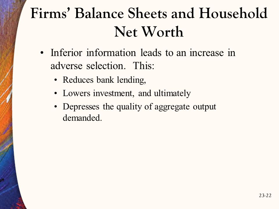 23-22 Firms' Balance Sheets and Household Net Worth Inferior information leads to an increase in adverse selection.
