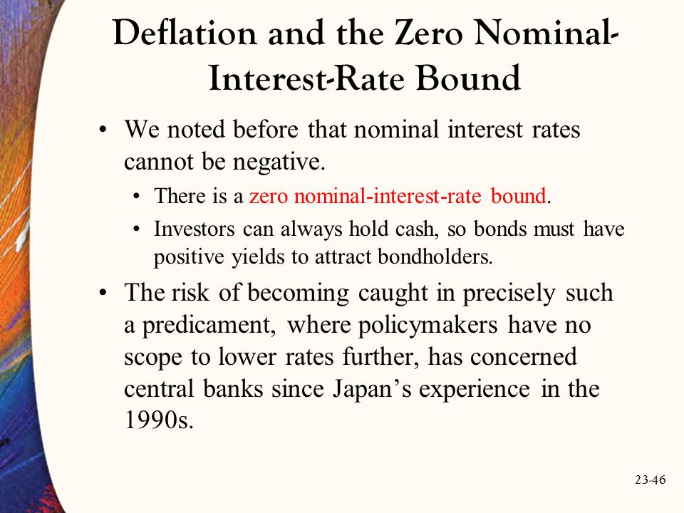 23-46 Deflation and the Zero Nominal- Interest-Rate Bound We noted before that nominal interest rates cannot be negative.