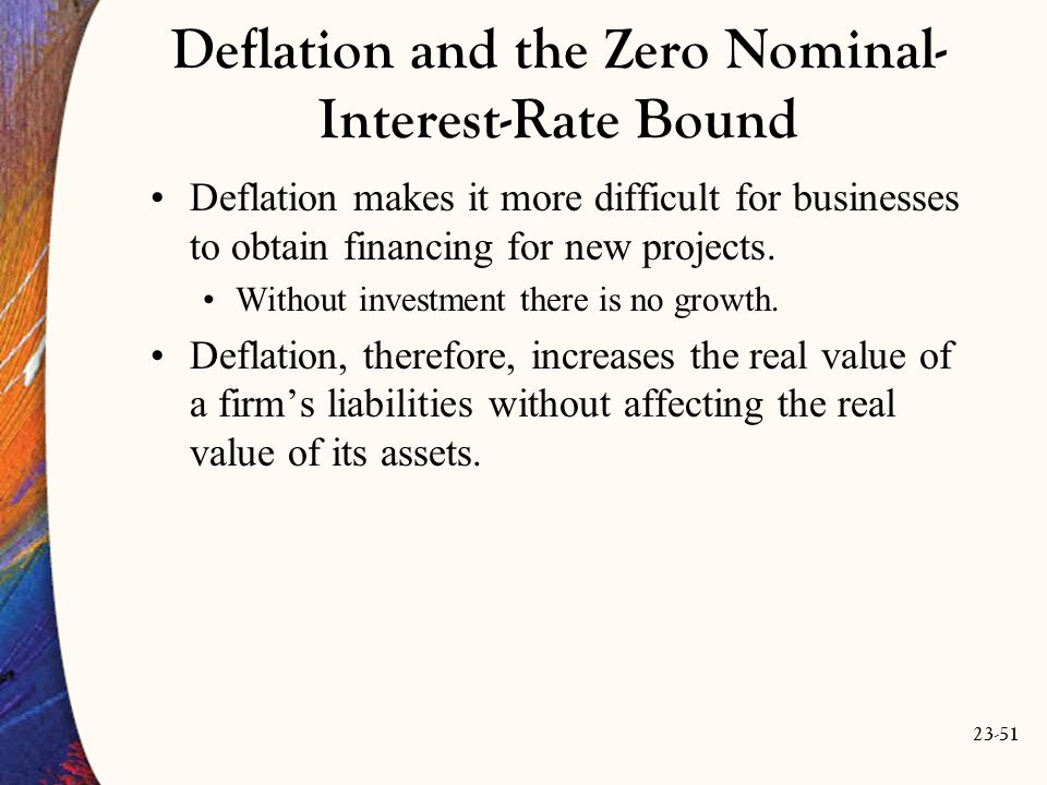 23-51 Deflation and the Zero Nominal- Interest-Rate Bound Deflation makes it more difficult for businesses to obtain financing for new projects.