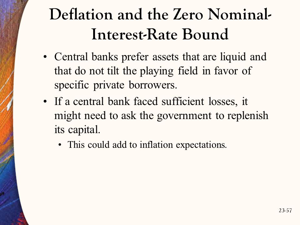 23-57 Deflation and the Zero Nominal- Interest-Rate Bound Central banks prefer assets that are liquid and that do not tilt the playing field in favor of specific private borrowers.