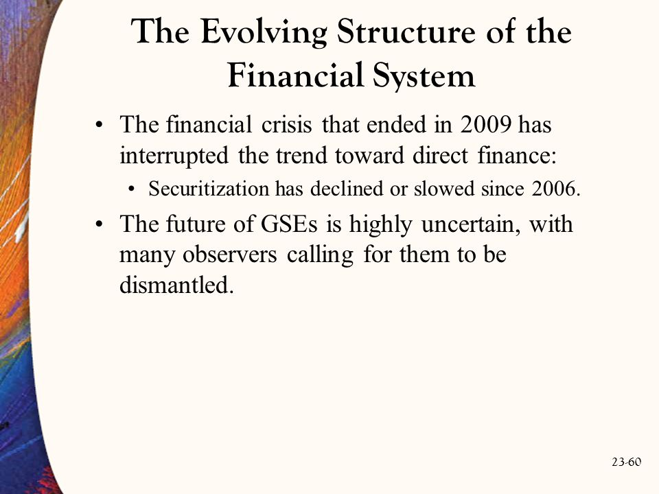 23-60 The Evolving Structure of the Financial System The financial crisis that ended in 2009 has interrupted the trend toward direct finance: Securitization has declined or slowed since 2006.