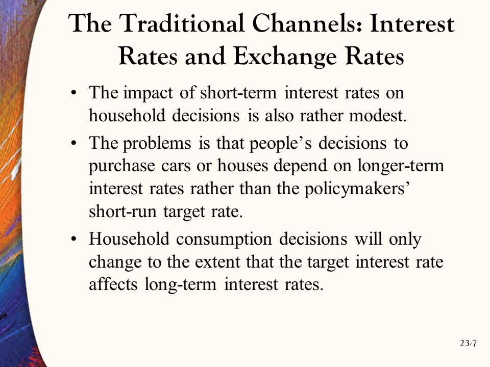 23-8 The Traditional Channels: Interest Rates and Exchange Rates As for the effect of monetary policy on the exchange rate, once again, theory and practice differ.
