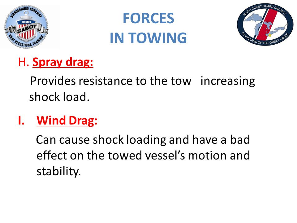 FORCES IN TOWING H. Spray drag: Provides resistance to the tow increasing shock load.