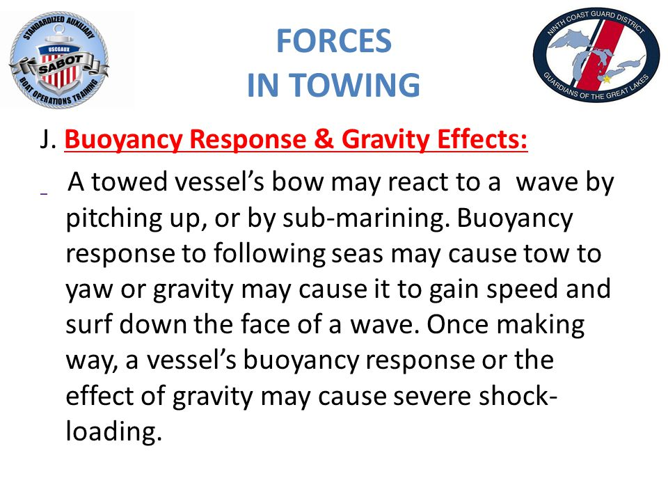 FORCES IN TOWING J.